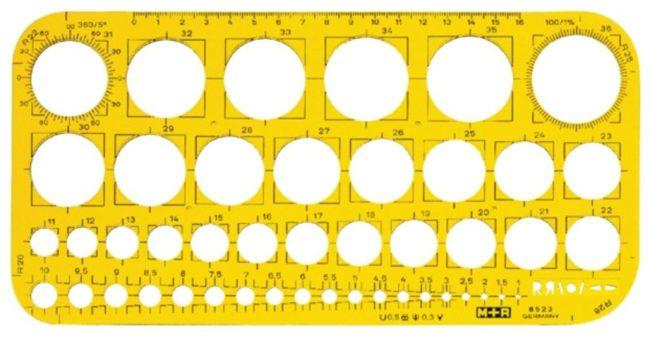 Afbeelding van Bruna Sjabloon M+R 852306 cirkels 1-36mm transparant geel