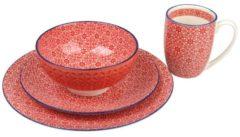 CreaTable 17363 Single-Geschirr-Set Mediterran für 1 Personen, Steinzeug, rot (1 Set, 4-teilig)