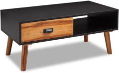 Zwarte VidaXL Massief acaciahouten salontafel 90x50x40 cm