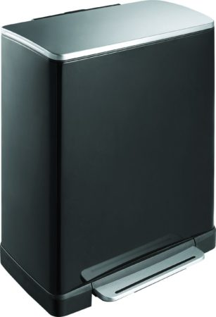 Afbeelding van Roestvrijstalen Pedaalemmer - Prullenbak gescheiden afval - E-Cube recycling - 28+18 ltr - mat rvs zwart - EKO