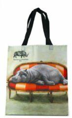 Beige Shopper tas - Shopper tas dames - Gemaakt van hergebruikte PET Flessen - Boodschappen tas - Wildlife at leisure - Nijlpaard - Milieubewust en Groen. Origineel Afrikaans en passend bij de Wildlife at Leisure collectie van WhimsicalCollection