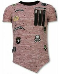 Roze T-shirt Korte Mouw Local Fanatic Longfit Asymmetric Embroidery - T-Shirt Patches - US Army