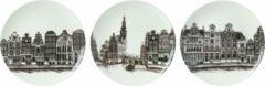 Grijze Heinen Delfts Blauw Borden Grachtenpanden set van 3