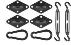 Livin' outdoor Bevestigingsmaterialen Schaduwdoek Vierkant - Zwart
