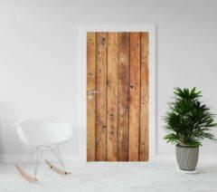 Bruine Kimano Deurposter - deursticker Houten planken deur - 201,5 x 93 - of andere maat