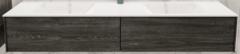 Boss & Wessing Badkamermeubel BWS Madrid Washed Oak 180x45x30 cm Mat Witte Solid Surface Wastafel Dubbel (2 lades, 0 kraangaten)