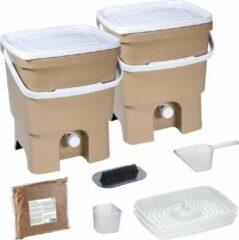 Beige Skaza Exceeding Expectations Skaza Bokashi Organko keukencompostbak van gerecycled plastic | 2x 16 L | Starter Set voor keukenafval en compostering | met EM zemelen 1 kg