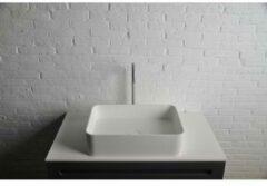 Ideavit Solidthin opbouw wastafel 50x35x12.5cm rechthoek 0 kraangaten 1 wasbak Solid surface wit 281618