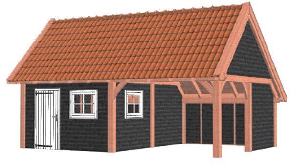 Afbeelding van Van Kooten Tuin en Buitenleven Kapschuur De Hofstee XXL 785x595 cm - Combinatie 1