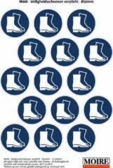 Blauwe Moire BV Pictogram sticker 75 stuks M008 - Veiligheidsschoenen verplicht - 50 x 50mm - 15 stickers op een vel