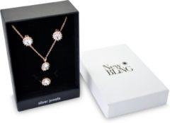 New Bling Gift Set 9NB SET012 58 Sieraden Geschenkset - Zilveren Oorbellen 6x8 mm Collier 40+5 cm Ring maat 58 - Solitair Zirkonia steen - Rosékleurig