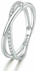 Mijn bedels Sterling zilveren ring Verweven lijnen
