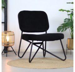 Bronx71 Moderne fauteuil Julia Velvet Zwart