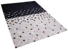 Beliani Vloerkleed zwart/beige 140 x 200 cm ERFELEK