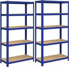Songmics Stellingkast set van 2, rek voor zware lasten, kelderrek, 180 x 90 x 40 cm, tot 875 kg belastbaar, 5 verstelbare planken, metalen rek, werkplaatsrek, kelder, blauw GLR80BU-Magazijnrek