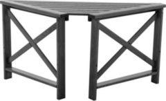 Gardenhome Massivholz Tisch OSLO Eckablage mit 2 Armlehnen Taupegrau