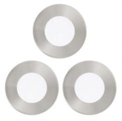 Grijze EGLO Fueva 1 - Inbouwspotje - LED - Ø85mm. - Nikkel-Mat - Set 3 Spots