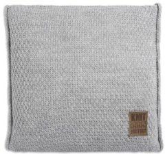 Licht-grijze Knit Factory Knitfactory Jesse - Sierkussen - 50x50 L. Grijs