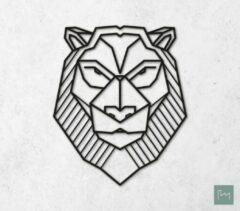 Laserfabrique Wanddecoratie - Geometrische Leeuw - Zwart - 56cm - Houten Dieren - Muurdecoratie - Line art - Wall art