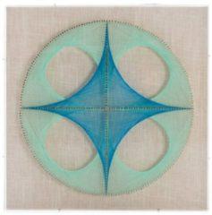 Faden-Wandbild Happiness Kayoom Blau
