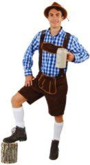 Korte lederhosen donkerbruin suedine - maat 54-56 L-XL - Oktoberfest imitatie suede Tiroler bruin heren broek alcantara Tirol lederhose carnaval bierfeest