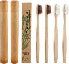 Btp Bamboe tandenborstels |Set Van 4 Tandenborstels Plus 2 Bamboe Kokers| Medium soft | Biologisch Afbreekbaar | 2 Wit - 2 Bruin|