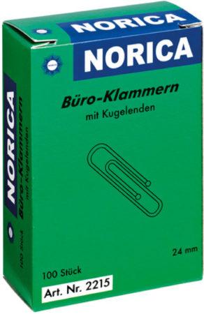 Afbeelding van Paperclips Norica 24mm verzinkt met kogeleind doos a 100 stuks