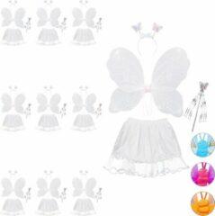 Witte Relaxdays 10x fee kostuum kinderen - vlindervleugels - kinderkostuum - toverstaf – diadeem