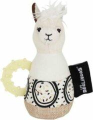 Les Deglingos Rammelaar Lama Wit 18 Cm
