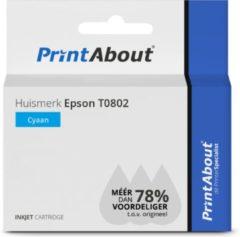 PrintAbout - Inktcartridge / Alternatief voor de Epson T0802 / Cyaan