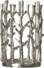 Cosy&Trendy Cosy & Trendy Windlicht Glas Aluminium Zilver - 12.5 cm x 12.5 cm x 20 cm