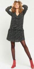 Zwarte LOLALIZA Mini jurk met bloemetjes en ruches Dames Jurk Maat S