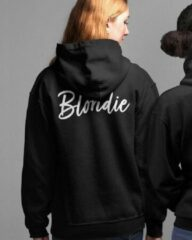 Zwarte B&C Collection Blondie & Brownie Hoodie Handwritten (Blondie - Maat M)