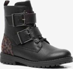 Blue Box meisjes biker boots met luipaardprint - Zwart - Maat 31