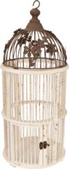 Bruine Clayre & Eef Nostalgische houten Vogelkooi - doorsnede 24x54 cm - Wit