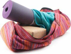 Yogi & Yogini Yogamat tas katoen roze gestreept - 67x24 - Katoen - Roze