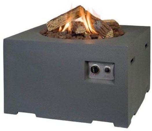 Afbeelding van Antraciet-grijze Happy Cocooning Vuurtafel Vierkant - Antraciet grijs + Gasdrukregelaar