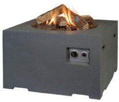 Antraciet-grijze Happy Cocooning Vuurtafel Vierkant - Antraciet grijs + Gasdrukregelaar