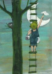Blauwe IsaBella Illustrations A4 Poster Painting a Full Moon