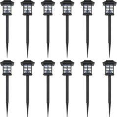 Zwarte VidaXL Solar LED tuinverlichting Lantaarn 8,6 x 8,6 x 38 cm (12 stuks)