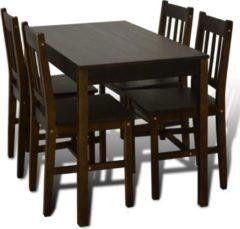Bruine VidaXL Houten eetkamertafel met vier stoelen (bruin)