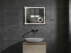 Mawialux LED spiegel   80cm   Vierkant   Verwarming   Digitale klok   ML-80LS-V