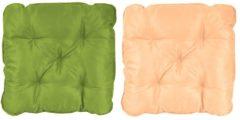 Stuhlkissen Sitzkissen mit Bänder 50x50 Gartenstuhl Auflage Stuhlpolster Polsterauflage grün beige Meerweh grün/beige