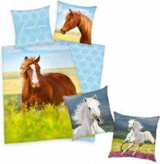 Groene Herding Dekbedovertrek Paard, 140 x 200 cm, Paard in bloemenwei , Dekbed eenpersoons - incl. sierkussen wit paard 40x40 cm