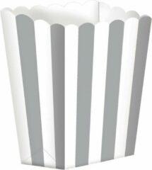 Witte Amscan Snoepbakjes Streep 5 Stuks 9,5 X 13,5 Cm Zilver