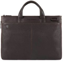 "Bruine Piquadro Black Square Expandable Computer Bag 15.6"" dark brown"