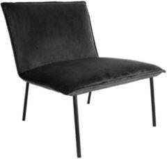 Antraciet-grijze Budget Design Store Kick fauteuil Velvet Lola - Antraciet