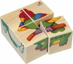 Naturelkleurige Selecta Spielzeug Blokkenpuzzel Dieren Junior 10 X 10 Cm Hout 4-delig