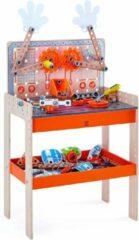Oranje Hape houten werkbank Deluxe Scientific 79-delig
