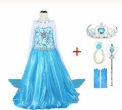 WiseGoods - Frozen Elsa - Jurk en set voor Meisjes - Prinsessen - Verkleedkleding - Kinderkostuum - 4-5 jaar - 104-110 - Blauw
